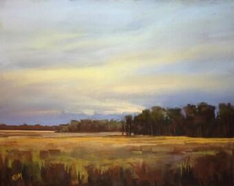 Moody  Marsh Prairie Meadow 20x26 Original Pastel Painting purple,gold,yellow,violet