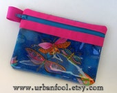 Dragonfly Zipper Pouch, Vinyl Pouch, Cell Phone Case, Gadget Case, Makeup Bag, Purse Organizer, Coin Purse, USB Case, Laurel Burch