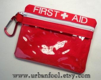 First Aid Zipper Pouch, Zipper Bag, Vinyl Pouch, Camping Accessory, Purse Organizer, Emergency Bag