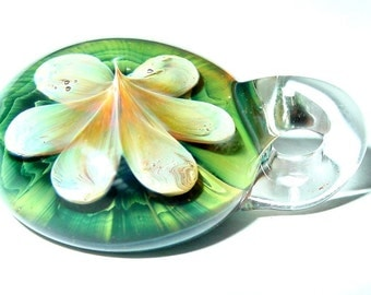 Life Spring glass focal flower bead pendant