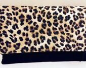 Clutch Envelope Bag | Cheetah Leopard Black | Zippered Top | Medium size bag