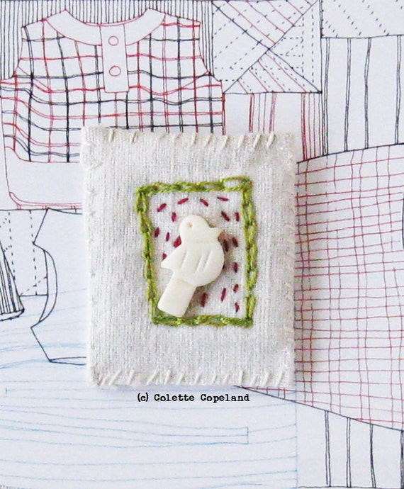 Textile brooch, pin, hand stitched, white birdie, handmade jewelry