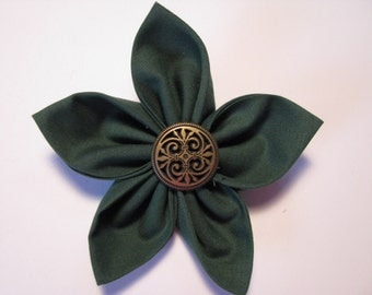 Hunter Green Fabric Flower Brooch