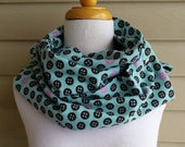 button LOVE flannel snap infinity scarf cowl with hearts
