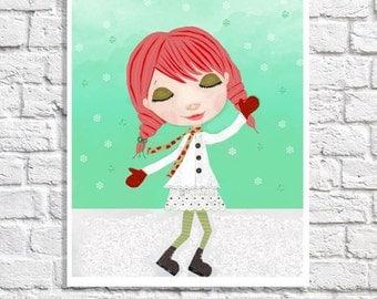 Retro Christmas Illustration Seasonal Wall Art Winter Wonderland Snow Picture Holiday Decoration Little Girl Room Decor Redhead Art Print
