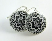 Black and White Porcelain Earring Medallion Number 2 With Hand Forged Sterling Silver Earwires