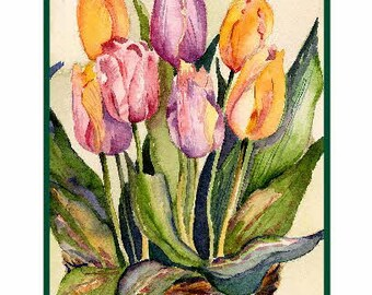 Watercolor Tulips in a Basket Greeting Note Cards Notecards, Tulip Art, Tulip Prints, Boxed Set