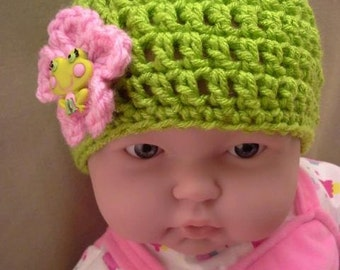 Crochet Keylime Green with Frog Button on a Pink Flower Infant size 0-3 mths