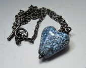 READY to SHIP across the universe, hand made lampwork glass heart pendant