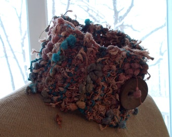 Pom Pom crocheted neckwarmer in brown and turquoise