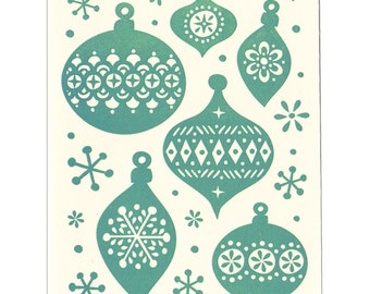 Holiday Ornaments letterpress greeting card - blank inside, set of five