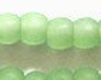 """4mm Cultured Sea Glass Light Opaque Green Round Beads 8"""" strand"""