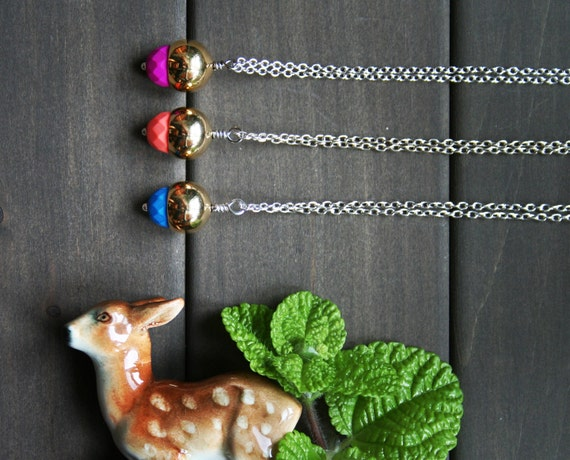 LAST CHANCE Autumn Necklace - acorn fall colorful blue purple pink gold brass short everyday color pop