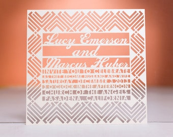 Dapper Wedding Invitation, Laser Cut