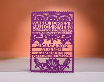 Papel Picado Invitaton, Laser Cut