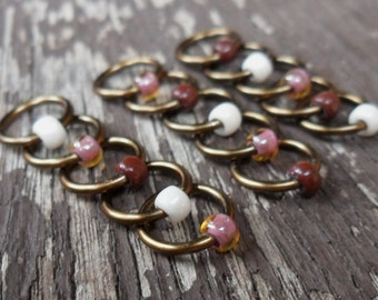 Choose Size Dangle Free Knitting Stitch Markers Antiqued Bronze Wire Cream, Chocolate Brown and Pink Topaz Seed Beads Set of 15 Snag Free