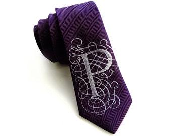 "Custom monogram necktie. One letter initial silkscreen print, elegant herringbone woven silk tie. ""AlphabeTIES"" filigree font. Choose A-Z."