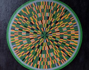 Original Abstract Painting Modern Artwork Gray Green Orange And Black Art 24x24 Bohemian Motif Optical Acrylic Painting