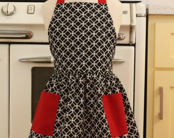 Vintage Inspired Black and White Deco Tiles with RED Full Apron for Little Girls