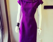 Purple Knit Fitted 50's Style Dress with Circle Collar
