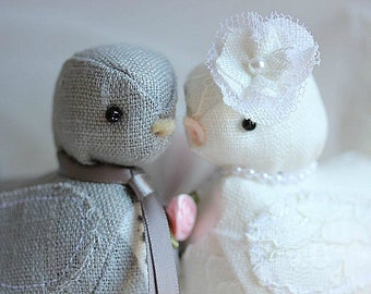 Wedding cake topper Love Birds - Love  Birds Wedding cake topper - Fabric Bird Cake Topper - CUSTOM ORDER