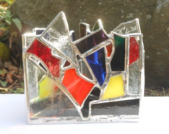 Frosty Rainbow Triangle Shaped Rainbow Themed Stained Glass Candle Holder tealight holiday decor colorful winter frost home office dorm deco