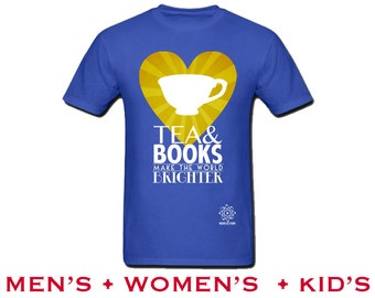 Tea & Books Shirt, Library Reading Tshirt, I Love Books, Womens Librarian Tshirt, Childrens Bookworm, Nerdy Shirt, Short Sleeve S M L Xl Xxl