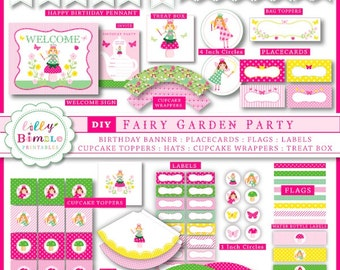 40% off Fairy Garden Party DIY printable birthday kit for parties in PDF format, cupcake toppers, wrappers, labels, bunting banner