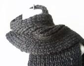 Charcoal Grey Chunky Hand Knit Classic Scarf Rib Knit Granite Dark Gray Men Women Unisex CLARKE Ready to Ship - Autumn, Winter Fashion