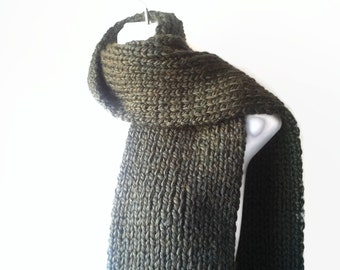 Extra Large Rib Classic Knit Scarf Moss Green Oversize Scarf Fatigue, Army Green Men Women CLARKE Ready to Ship - Autumn, Winter Fashion