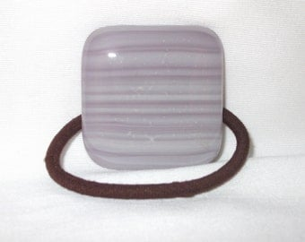 Glass Ponytail Holder, White and Purple Striped Fused Glass, Handmade Hair Accessories, Women's Accessories, Purple Glass Flat Hair Tie