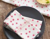 MOVING SALE Watermelon Stars Cloth Napkin, Set of 6, Trimmed in Gray