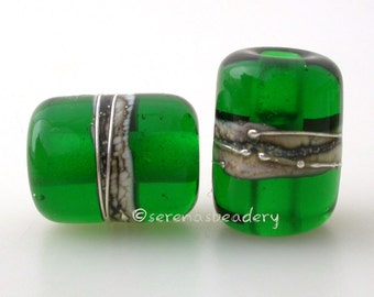 Dark Emerald Green Night Owl Tube Pair Lampwork Glass Bead - TANERES silvered ivory and fine silver wrap