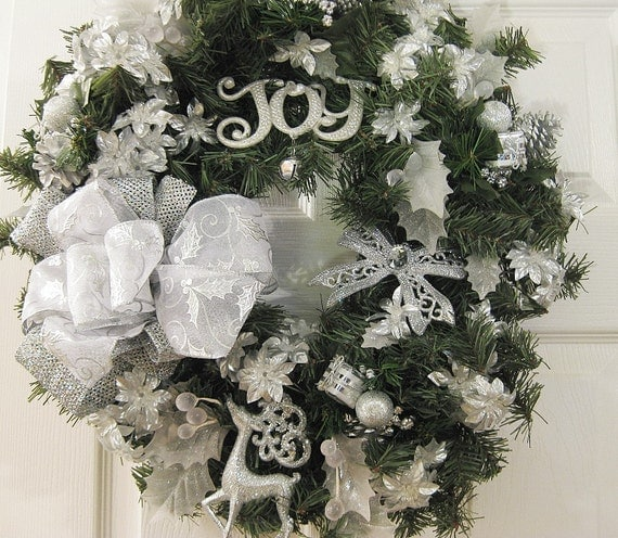 silver christmas wreath on sale holiday wreath front door. Black Bedroom Furniture Sets. Home Design Ideas