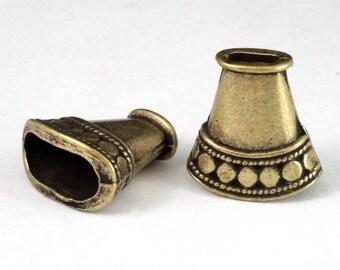 16mm Antique Brass Flattened Oval Cone #COB038
