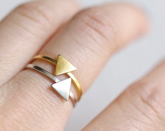 simple triangle ring . tiny triangle ring . triangle stacking ring . stackable triangle ring . triangle ring gold geometric jewelry / 4LTRI