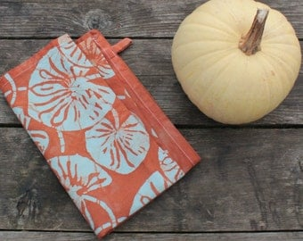 fall tea towel rust and robins egg lilypad batik