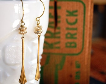 fairy deco dangle earrings- vintage french shimmer beads- brass drop- ethereal- bridal