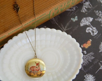 oh deer cute woodland locket - aged brass- leaf detail- long chain necklace-fawn