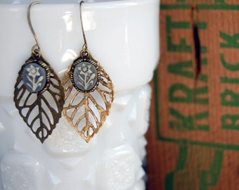 vintage woodland leaf earrings with vintage grey blue floral cameos- aged brass