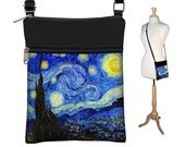 Small Cross Body Purse in Starry Night, Hipster Crossbody Bag, Sling Shoulder Bag,  eReader case cover,  blue yellow black RTS