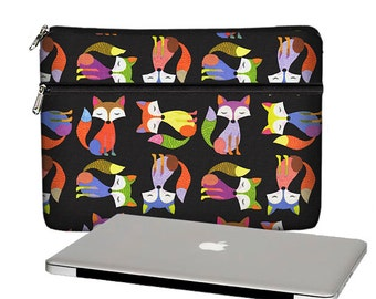 SALE 13 inch Laptop Case, Cute Hipster Fox Macbook Air 13 Sleeve, Womens Laptop Bag,  Macbook Pro / Air / Retina, black blue orange MTO