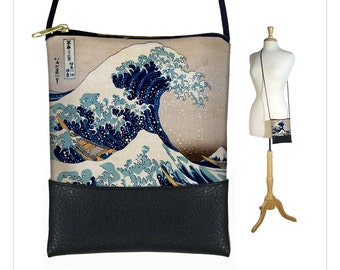 Small Cross Body Purse, The Wave Hokusai , Mini Crossbody Bag fits iPhone 6 Plus, Vegan Black Leather Bag Japanese Asian Art blue RTS