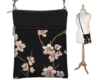 SALE 25% OFF Plum Blossom Small Cross Body Purse  Black Crossbody Bag Sling Shoulder Bag Fits eReaders Asian Cherry red white  RTS
