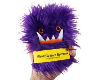 Worry Woolie children's Notebook, small furry magical purple orange monster journal