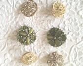9 rhinestone buttons, shank  buttons, green buttons, sparkling buttons