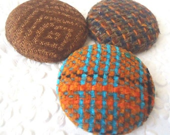 Brown buttons, stripe buttons, fabric buttons, wool button, size 60 buttons, set of 3 buttons
