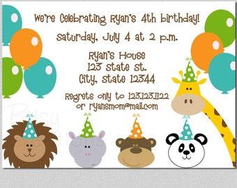 Zoo Birthday Printable Invitations Digital File Printable Invitation Zoo Party