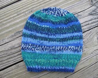 Self-Striping Soft Merino Wool Hand-Knitted Baby Hat (newborn to three months) OOAK