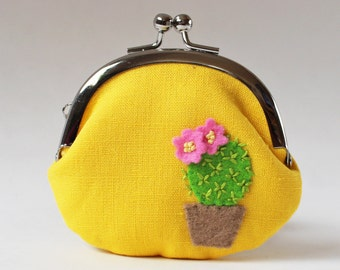 Coin purse cactus with pink flowers green cactus yellow linen spring flower floral succulent garden plant change purse kiss lock clasp purse
